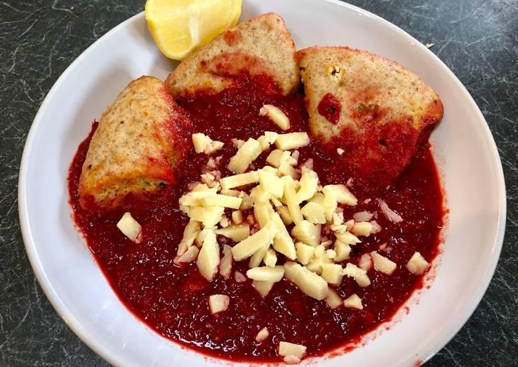 Borscht (Beetroot Soup) and Dumplings