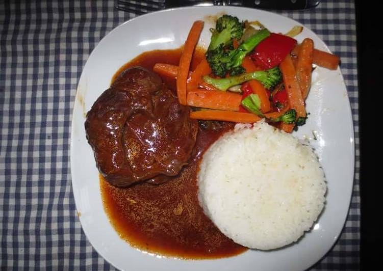 Beef Stew served with Rice and assorted vegetables