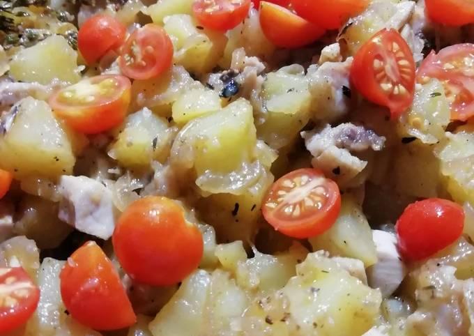 Poêlée de pomme de terre / poulet (reste de la veille)