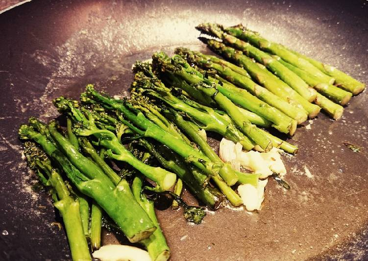 Butter Fried Broccoli Tenderstem And Asparagus