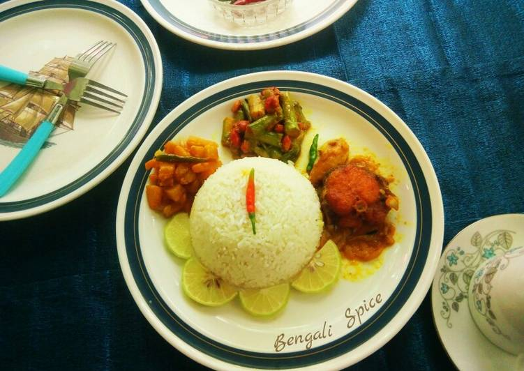 How To Learn Typical Bengali Platter including Roho Labeo curry and Veggies ♥
