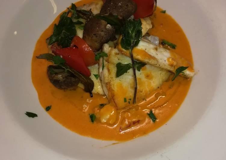 Ricetta Merluzzo con salsa all'astice e spiedino vegetariano