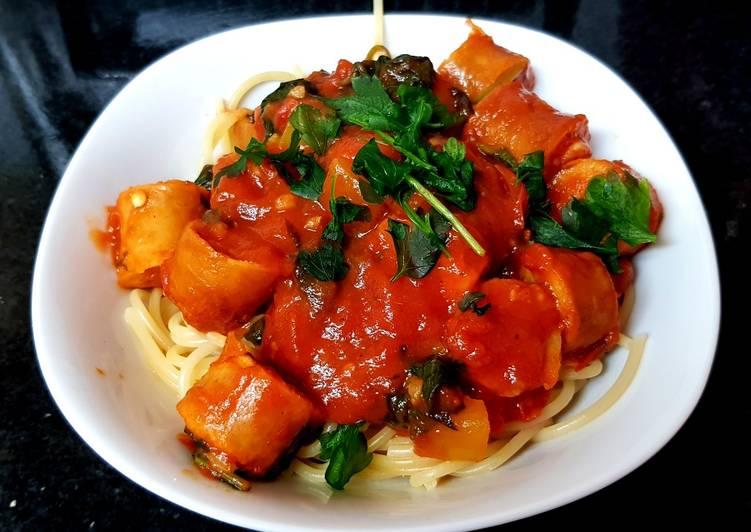My Italian Style Chicken Sausage bake on Spaghetti 🤗