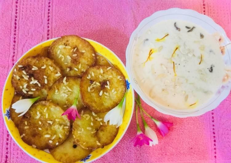 Soyabeen Flour Malpua With  dry fruits rice Kheer