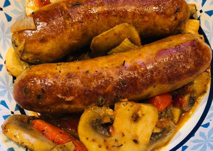 Sausage, Peppers, Onions and Mushrooms