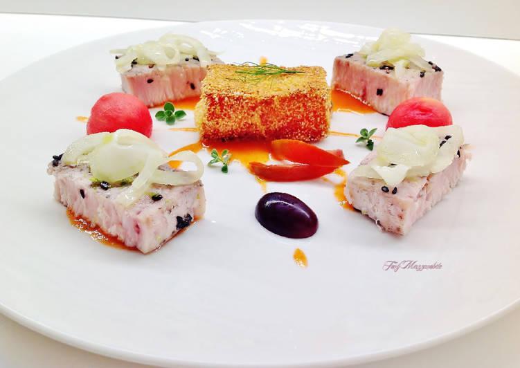 Ricetta Pesce spada con gazpacho di anguria e ciliegie, e anguria arrosto