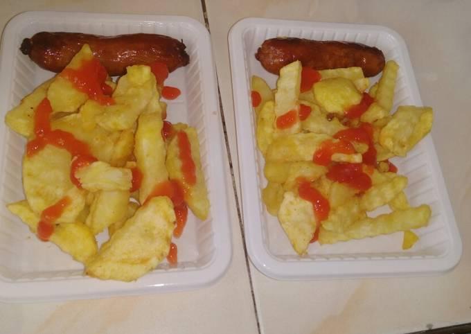 Homemade potato fries and beef sausage#Mombasa potato contest