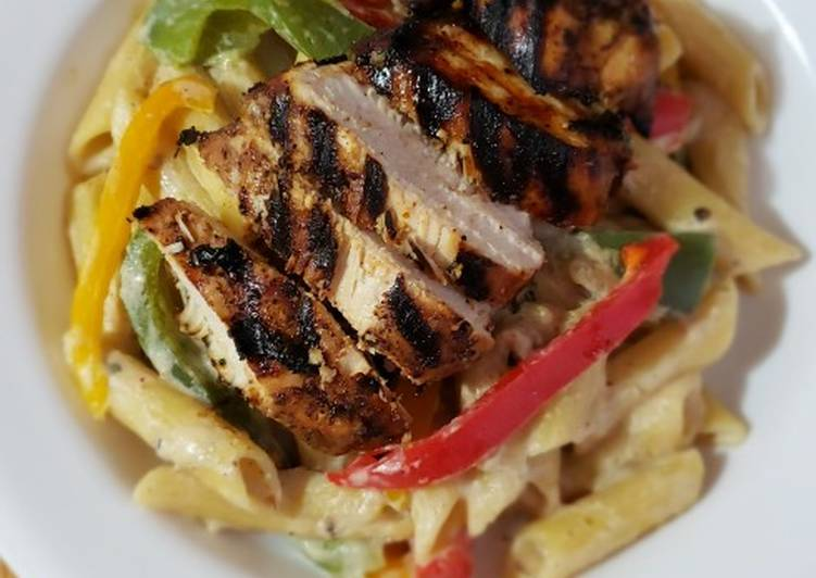 Recipe: Appetizing Rasta Pasta with Grilled Jerk Chicken