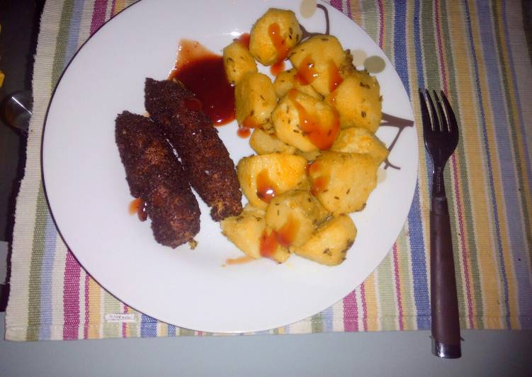 Roasted potatoes and coated smokies