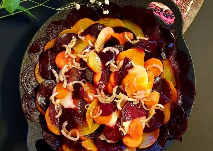 Beetroot, carrot and potato salad