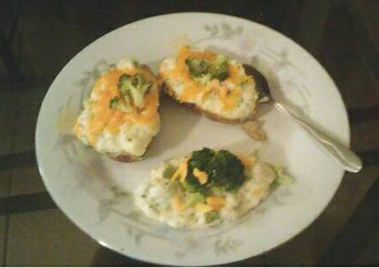Broccoli and cheddar cheese twice baked potato