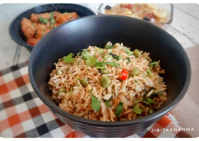 Healthy Brown Rice Pea Pulav