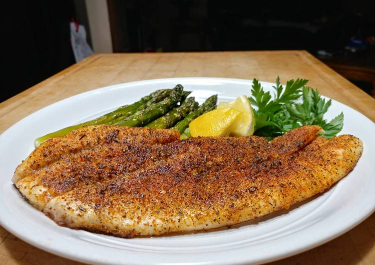 Recipe: Perfect Oven Baked Blackened Snapper w/ Asparagus