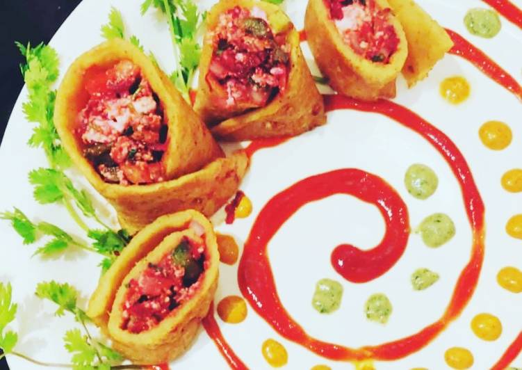Easiest Way to Prepare Perfect Beet and cheese stuffed Moong dal roulade