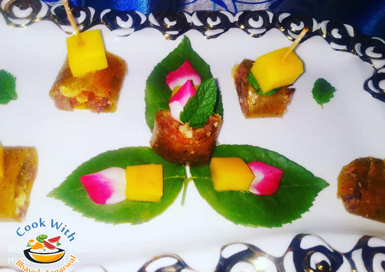 Aam papad sushi with rosey filling