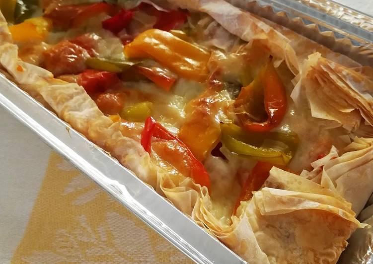 Ricetta Torta salata di pasta fillo con peperoni e mozzarella light