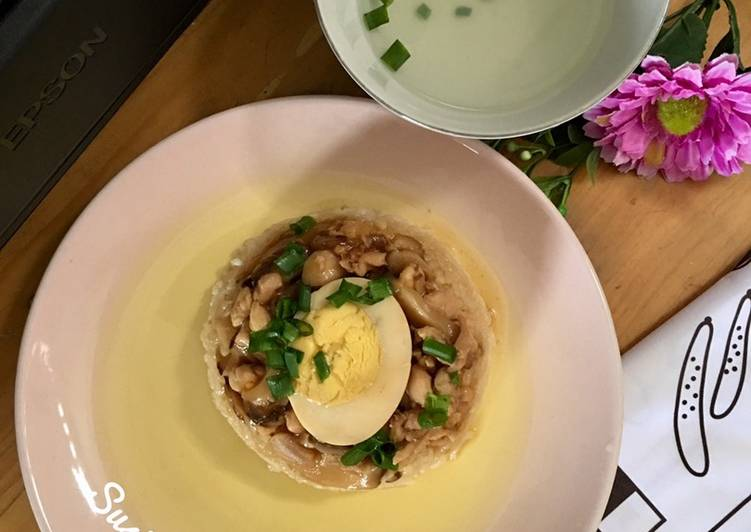 Nasi Tim Ayam Jamur Telur