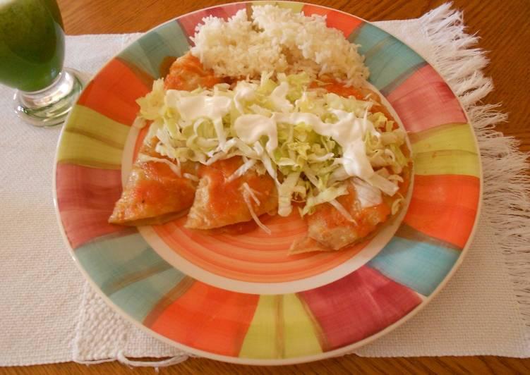 Enchiladas rojas de atún