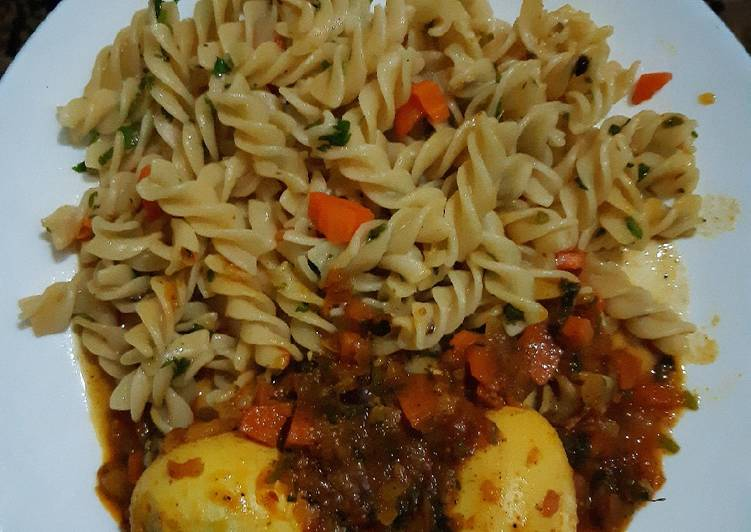 Easiest Way to Make Perfect Macaroni and boiled eggs curry