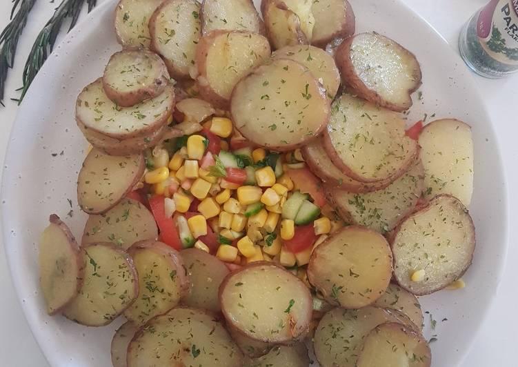 Roast potatoes with corn salad