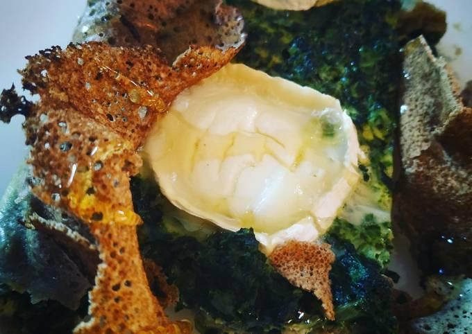 Tarte chèvre épinards miel sur galettes de sarrasin