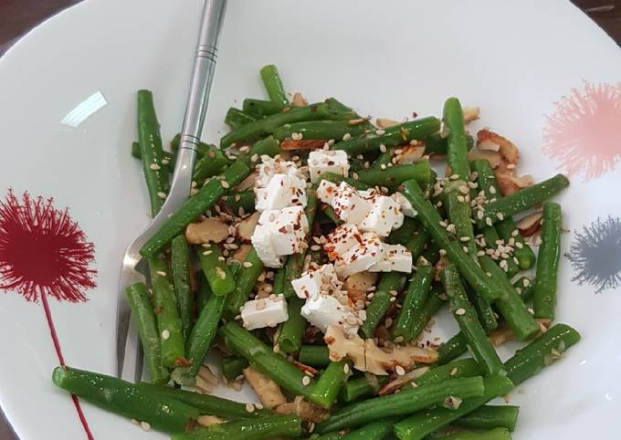 French beans tossed with nuts and feta cheese salad