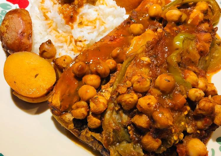 Roasted Eggplant 🍆 with Chick Peas