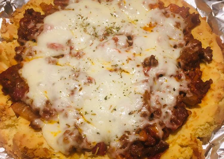 Cara Menyajikan Resep Yummy Dari PIZZA KETO BOLOGNISE (TEPUNG ALMOND)