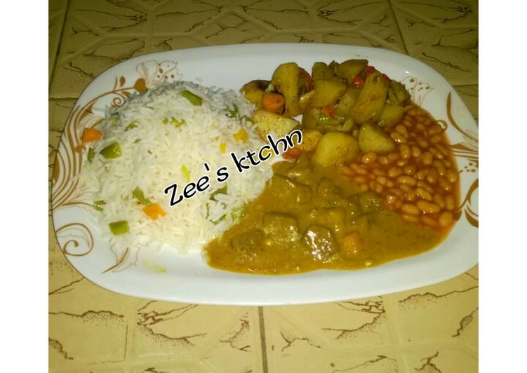 Basmati rice,baked potato, chicken curry soup wit baked beans
