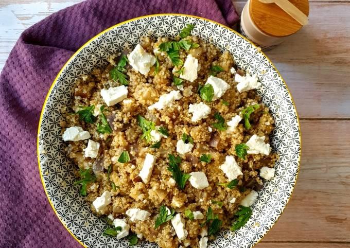 Salade de quinoa, aubergines et feta