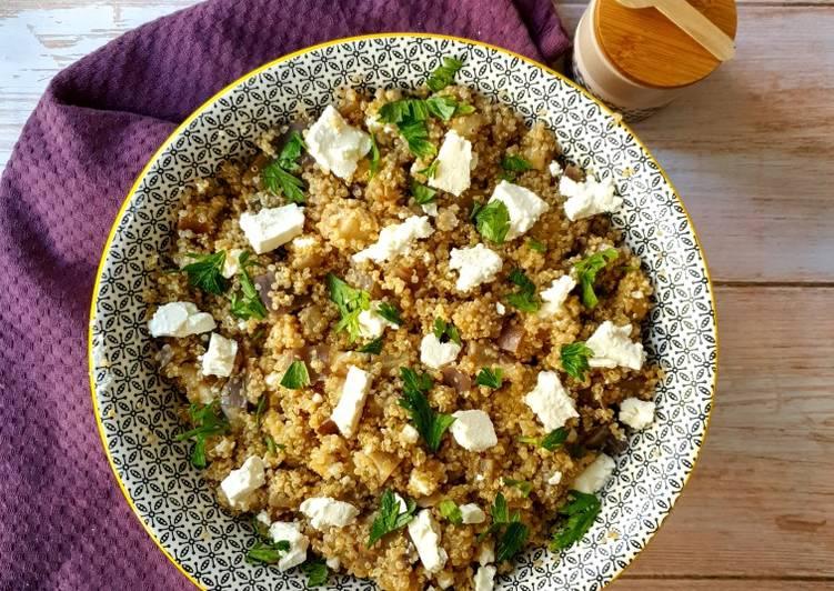 Comment faire Faire Délicieuse Salade de quinoa, aubergines et feta