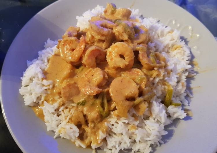 My Yellow Coconut Curried Chicken & king Prawns. 😀