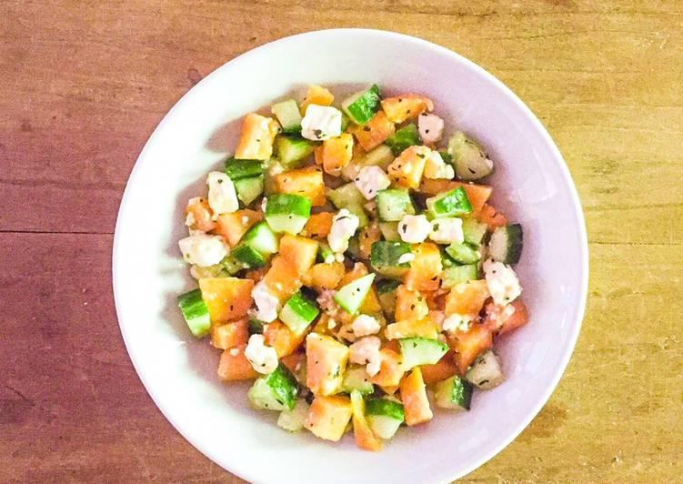 Recette: Parfait Salade de Melon, concombre et fêta