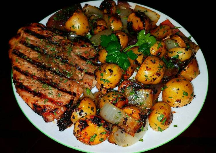 Mike's Grilled Pork Chops & Baby Golden Russets