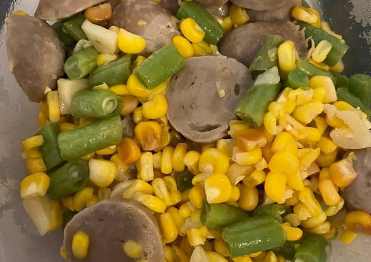 Tumis jagung bakso