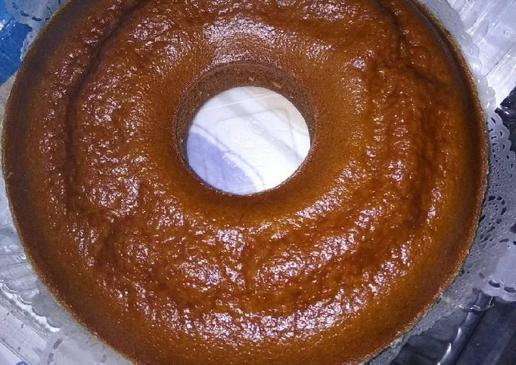 cara membuat Bolu caramel a.t.a sarang semut (kukus) - Sajian Dapur Bunda