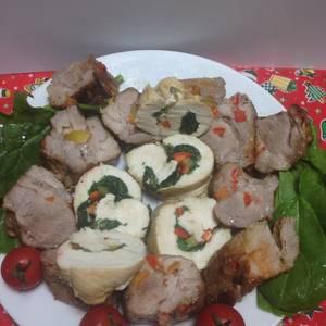 Lomo de Cerdo Relleno con Pimientos, Espinacas!