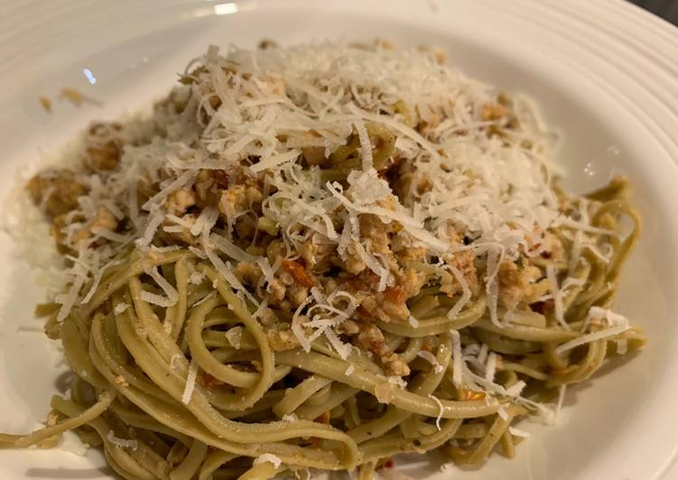Recipe of Homemade Edamame pasta with spicy turkey mince For Jamo