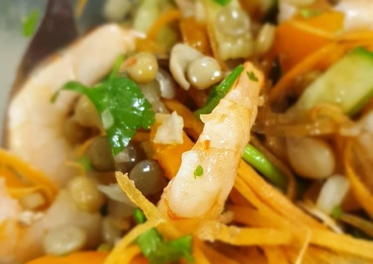 Lentil chickpea and prawn salad