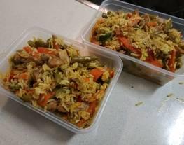 Arroz basmati con pavo y verduritas al curry xpress