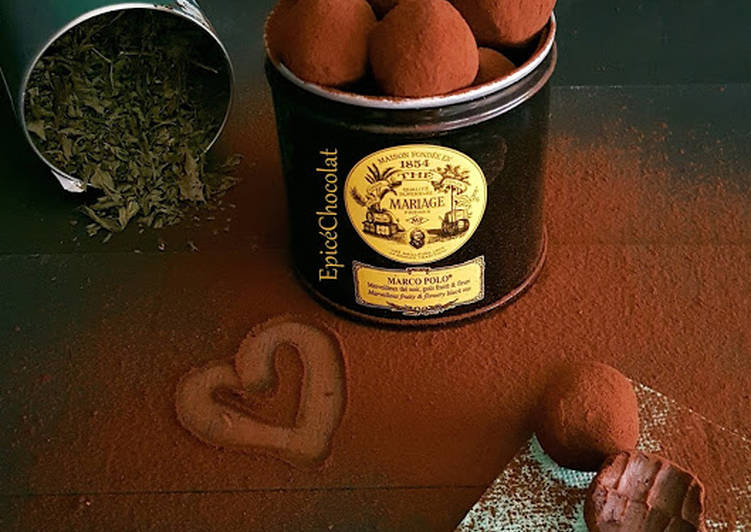 Truffes chocolat noir et menthe poivrée