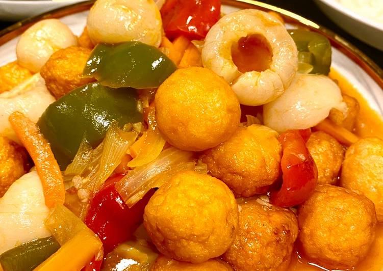 Shrimp ball sweet and sour/ bola udang asam manis - cookandrecipe.com