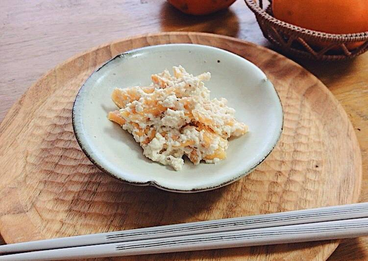 "Japanese persimmon salad dressed with ""Tofu"""