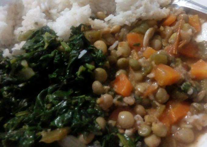 Super Delicious Green Mbaazi Stew With Garlic Spinach And Terere
