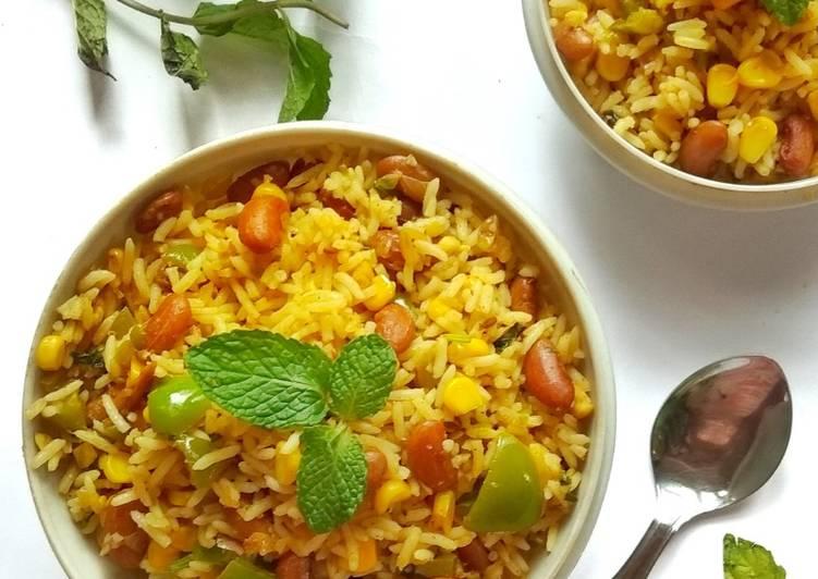 Rajma and corn fried rice