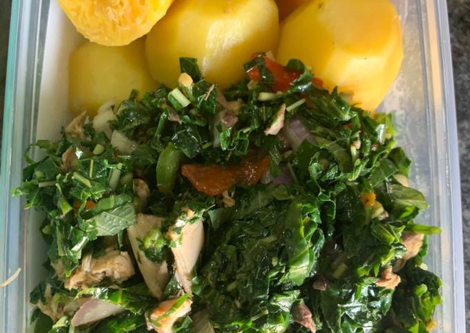 Green vegetable with boiled Irish and plantain