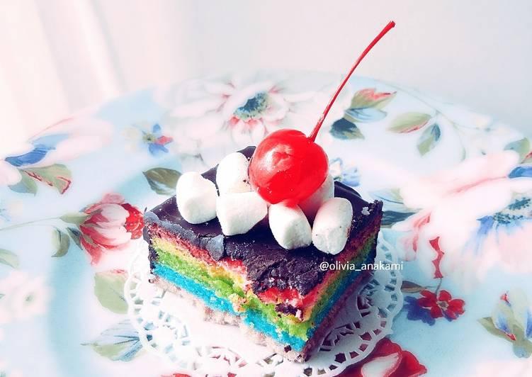 Rainbow Cake kukus (simple birthday cake)