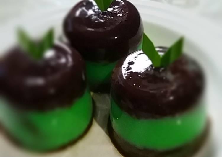 resep cara buat Puding marmer (chocopand) coklat pandan