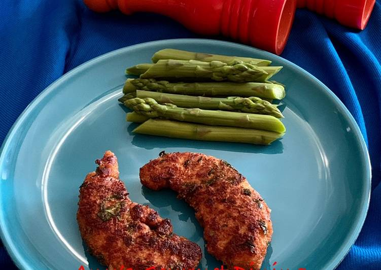 Steps to Prepare Award-winning Crispy Chicken Tenders and Steamed Asparagus
