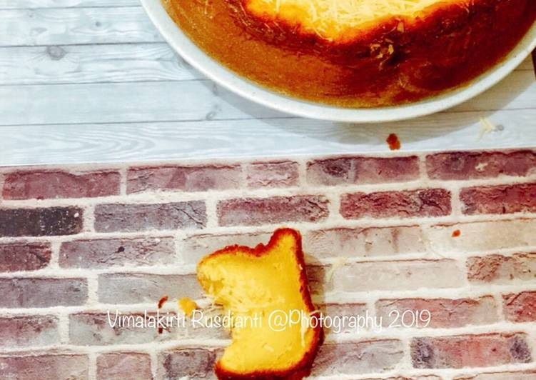 Cake tape keju dengan menggunakan baking pan